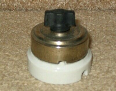 Vintage Rotary Light Switch - Chrome Porcelain Round Single-Pole Turn