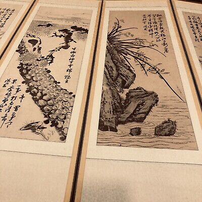 Antique 4 Panels Chinese Japanese Screen Signed