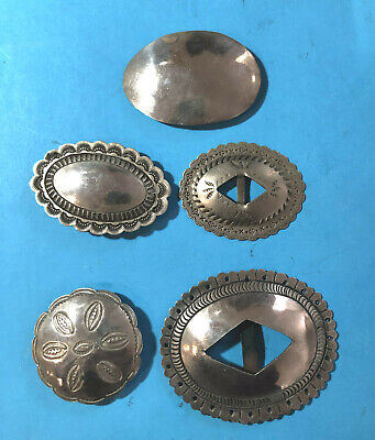 Vintage Navajo Indian Silver Conchos  Five Different All One Money