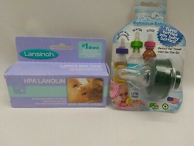 LANSINOH HPA LANOLIN CREAM FOR BREASTFEEDING 1.41 OZ Bundle With Refresh-A-Baby