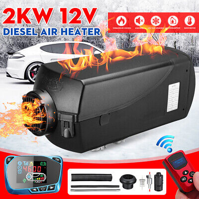 HCalory™ 12V 2KW Air Diesel Heater Remote W/ Silencer Tank For Boat Caravan RV
