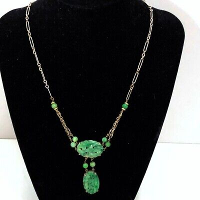 Vintage Antique Art Deco Chinese Nephrite Jade Pendant Necklace Silver Chain