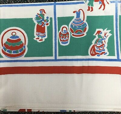 """Vintage Screen Print Tablecloth CUTTER 48""""x53"""" Hole Fading Cotton Red Blue White"""