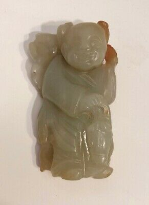Vintage Antique Carved Hetian Nephrite Jade Buddha Monk Pendant Sculpture