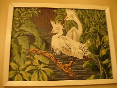 Paint By Number Vintage 60'S Egret Birds 26 Inches By 20 Inches