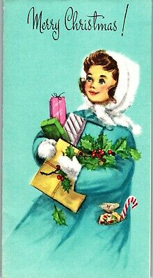 Unused Teal Pink Candy Cane Pretty Girl Lady Kid VTG Christmas Greeting Card