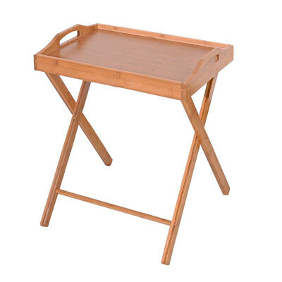 US Folding Bamboo Wood Tray Dining-table Serving Snack Tea Coffee desk Wooden