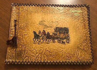 Vintage GERMANY 1952 Faux Leather Photo Album Picture Horse & Carriage