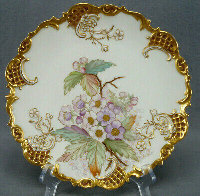 Count Thun PH Leonard Hand Painted Signed BME Blackberry Blossom & Gold Plate