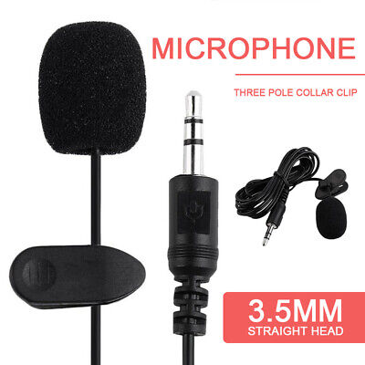 3.5mm Lavalier Lapel Clip-on Microphone for Mobile Cell Phone PC Laptop UK