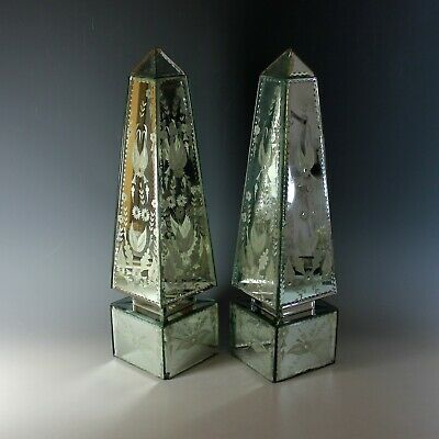 Antique Pair of Etched Venetian Mirrored Obelisks