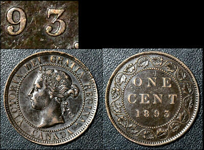 FEBRUARY SALE: Large Cent - 1893 Repunched 9/9 R/L - AU (bfa940)