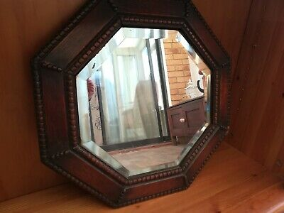 Octangular Wall Mirror Oak Beading Antique Arts & Crafts Style Bevel Edge