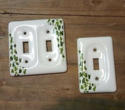 Vintage Set of 2 Porcelain/Ceramic Light Switch Leviton IVY Plate Covers