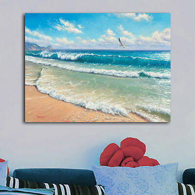 Happy Place Beach HD Canvas prints Painting Home decor Picture Wall art Poster