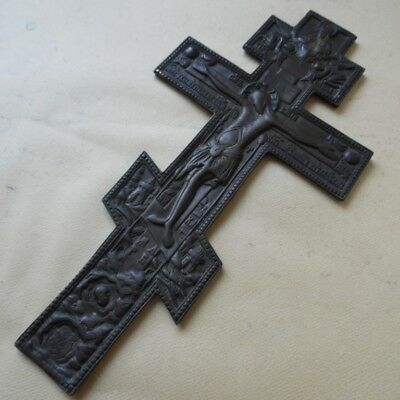 ANTIQUE RUSSIAN ORTHODOX Bronze Icon Large Cross  صليب