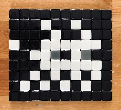 Space Invader Mosaic Art - Black and White Ghost Replica