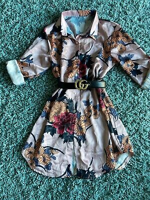 Small to L3 Size 12 to 22 New Adini Blue and Pink Floral Dipped Hem top