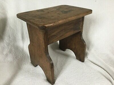 Genuine Antique Solid Oak Wood Small Milking Stool
