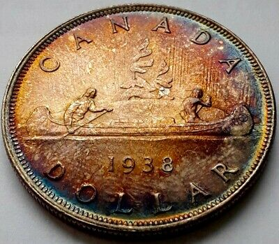 1938 $1  - Attractive Coin with Intense Blue/Green - Orange/Gold Patina