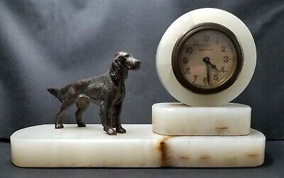 c1930's Art Deco New Haven Marble Shelf Mantel Clock Bronze Irish Setter Working