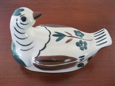 Vintage California Cleminsons Art Pottery Distelfink Bird Dove Cover Butter Dish