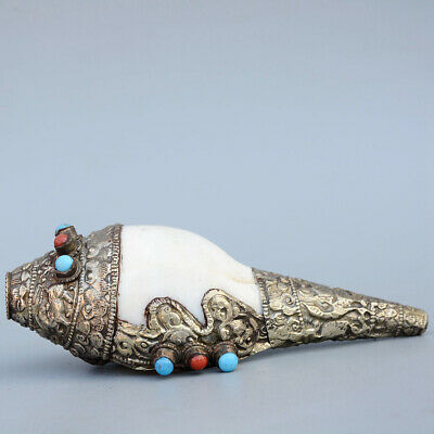 Collect China Old Miao Silver Armour Turquoise Hand-Carved Delicate Conch Statue
