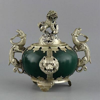 Collectable Old Miao Silver Armour Agate Carved Lion & Dragon Auspicious Censer