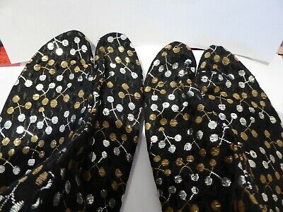 Japanese vintage Tabi silk slippers black, silver and gold - collectable textile