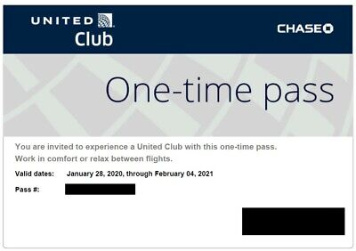 Two (2) UA United Club Airline Lounge One-time Pass exp 02/04/2021