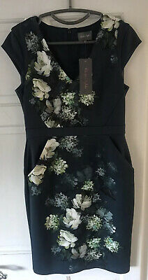 Stunning 'Phase Eight' Teal Floral Shift Dress Wedding Party Formal BNWT