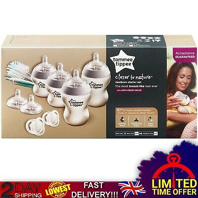 Tommee Tippee Complete Newborn Baby 4 Anti Colic Bottles Starter Bottle Kit 9pc