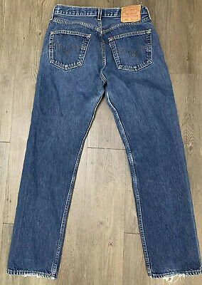 VTG Levis 501 Button Fly Blue Jeans Size 28 X 31 Made USA