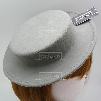 FASHION Wool Felt Women Fascinator Ladies Mini Boater Top Hat Party NEW | Grey