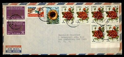 Dr Who 1966 Libya To Usa Flower Block Air Mail C165538