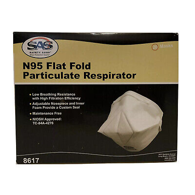 SAS N95 Face Mask Particulate Respirator 8617. Individually Packaged. (20) Masks