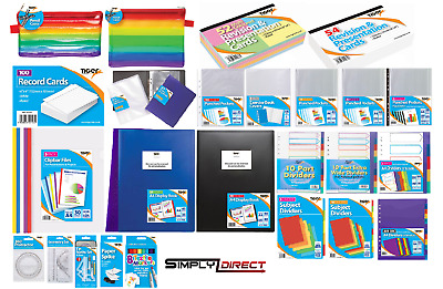 Tiger Stationery Full Range A5 & A4 Files Pockets Display Books  Revision Cards