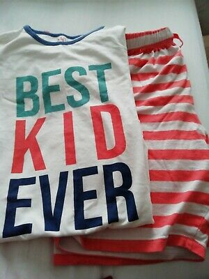 "Age 13-14 Short Pyjama Set from Marks and Spencers, ""Best Kid Ever"" on front"