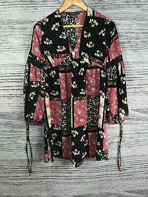 Primark 6 Patchwork Floral V Neck Long Crochet Accents Sleeve Casual Tunic Dress