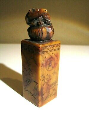 Old Hand Carved Shoushan Stone Asian Ink Stamp name KRISTEN seal charactor RAT