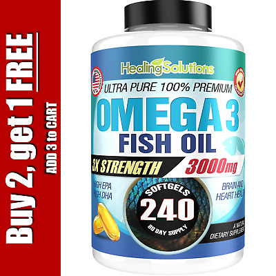 Ultra Pure Omega 3 Fish Oil 3000mg Small, Potent, Joint Pain Relief - XL 240ct