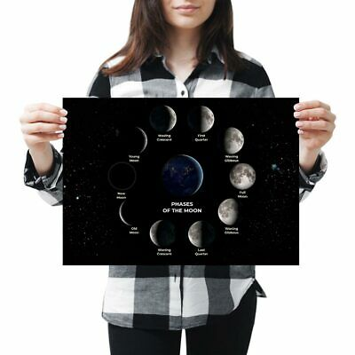 Moon Phases A4 Thick POSTER PRINT PICTURE Half Full Crescent Space Night Art