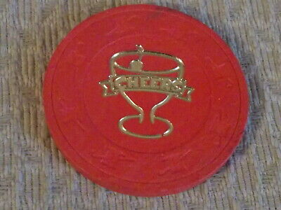 CHEERS CASINO (red) 5 hotel casino gaming poker chip