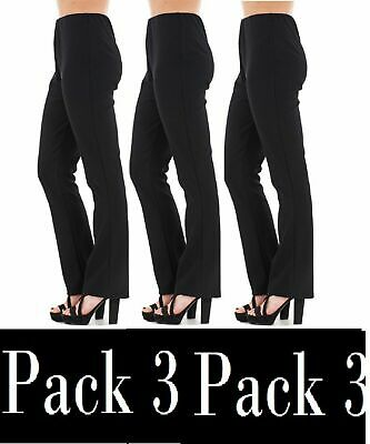 Ladies Pack Of 3 Finely Ribbed Bootleg Stretch Black Navy Trousers Sizes 10-26