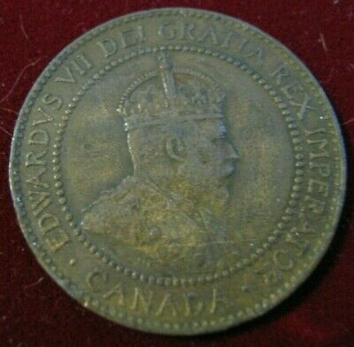 Canada One Cent 1910 Edward VII Brown VF-XF, Nice No Problems, PLEASE LQQK!