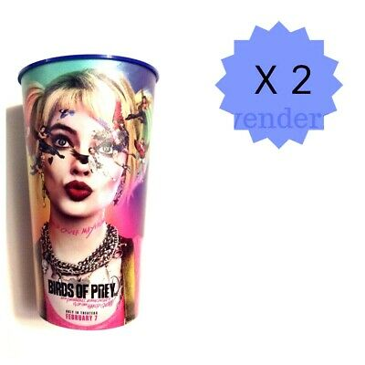 (Lot of 2) Harley Quinn Birds of Prey Movie Theater Exclusive 44oz Cups 🔥
