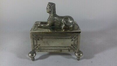 Antique Silver Plated Egyptian Revival Sphynx Ring Trinket Box