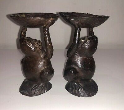 Pair Of Antique Casted Bronze Frog Statues Ornaments