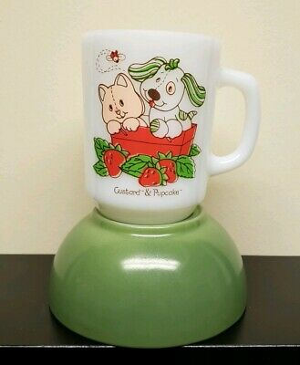 RARE FIRE KING STRAWBERRY SHORTCAKE CUSTARD & PUPCAKE MILK Glass MUG & bowl