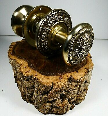 Antique Solid Brass Door Knob Floral Handle Set With Victorian Style Ornate